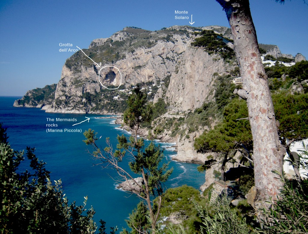View over the Mermaids rock and the Grotto of Arc from via Occhiomarino